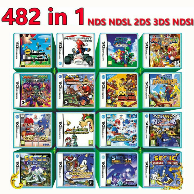 482 In 1 Video Game Cartridge Card Compilation All In 1 NDS NDSL 2DS 3DS 3DSLL NDSI Wholesale Price