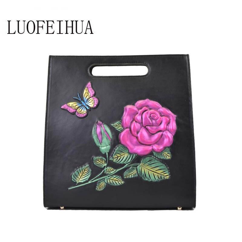 LUOFEIHUA  2019 new leather handbag Original crocodile pattern suede leather ladies shoulder Messenger bag Designer bags