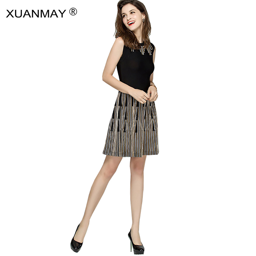 Spring Vest Sweater Dress Elegant lady Round Stripe Sweater dress fashion elegant England style Long style Knitted vest dre