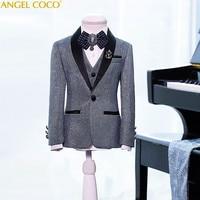 Shiny Fabric Children'S Boy Suits Silver Blazers Suits Wedding Enfant Garcon Mariage Jacket Garcon Clothing Wedding Vest Coat