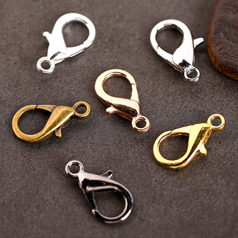 50pcs 10/12/14mm Metal Lobster Clasps Hooks Silver/Gold Lobster Clasps Hooks For Jewelry Making Findings DIY Bracelets Necklace