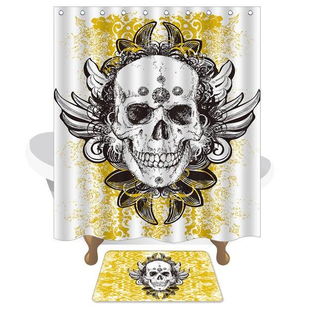 Creatieve Skelet Bloemen Douchegordijn en Badkamer Tapijt Waterdicht ...