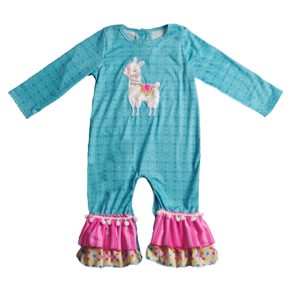 Conice NINI Baby Alpaca Pattern Boutique Romper Popular Infant Ruffle Clothing Girl Children Cotton Girl Romper 2GK811-820