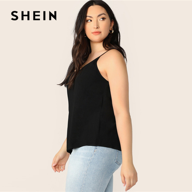 SHEIN Plus Size Black Solid V-Back Cami Top 2019 Women Summer Casual Spaghetti Strap Regular Basic Big Size Camisole Tops 1