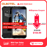 Oukitel Wp1 4gb 64gb Cell Phone Android 8.1 5.5 18:9 5000mah Mtk6763 Octa Core Wireless Charging Tri proof Smartphone
