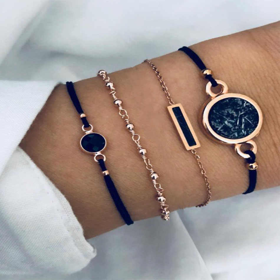 Boho Charm Chain Bracelets Women Fashion Geometry Circular Black Stone Rope Link Alloy Bracelet Sets Female Jewelry Party Gifts