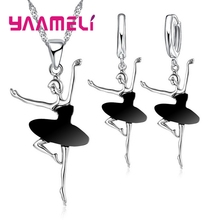 Hot Sale Dancing Ballet Girls Shape Austrian Crystal Pendant Fashion Jewelry Sets Necklace Earrings Children Gift 2018 new arrival exaggerated big necklace and earrings jewelry sets austrian crystal for wedding or party ethnic free shipping