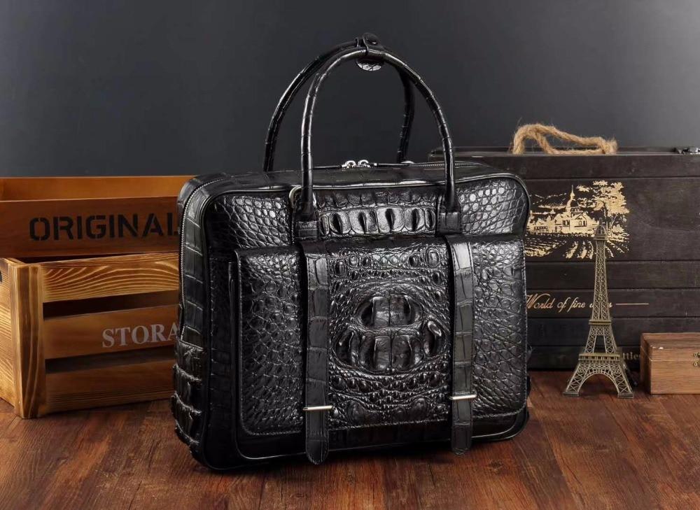 100% genuine real crocodile leather head skin men business bag laptop bag brefcase free ship black color with front pocket цены онлайн