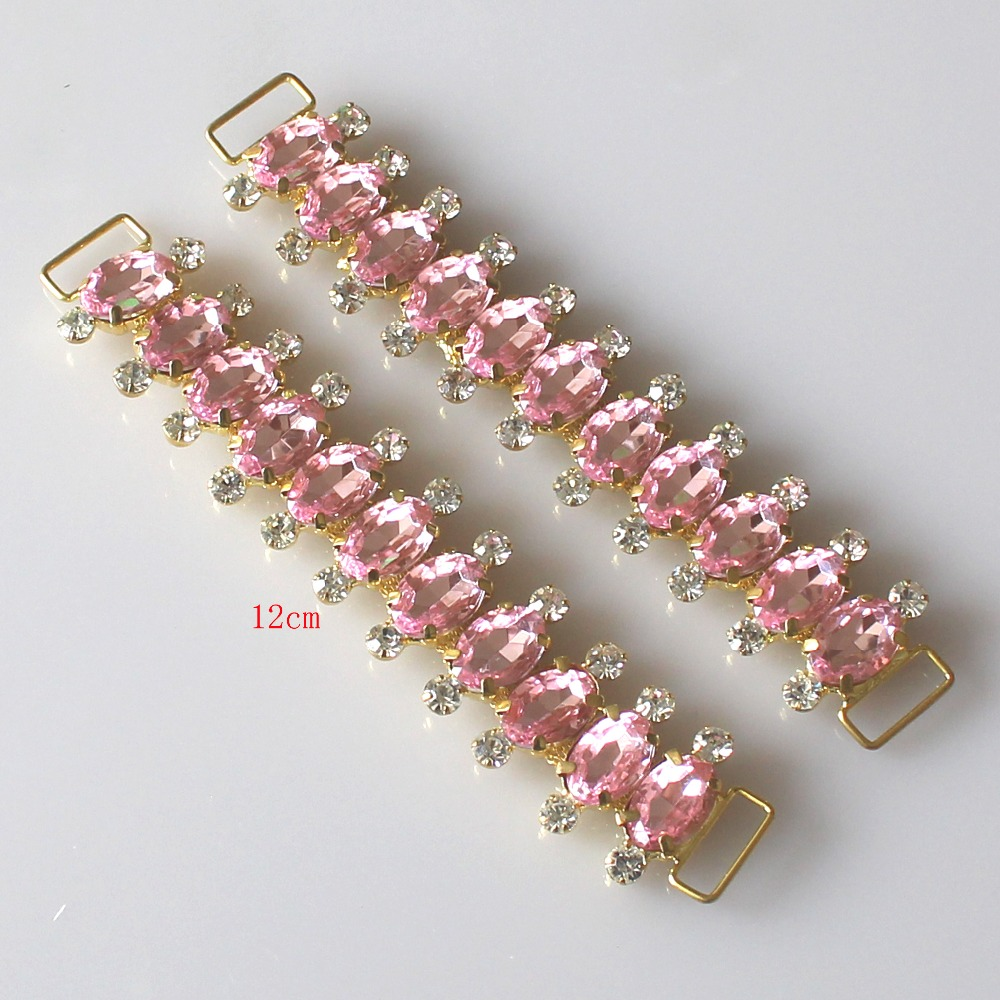 New Arrival! Factory 2pcs Charm Crystal Rhinestone Bikini Swimwear Connectors/ Buckle Metal Chain Buttons For Swimwear