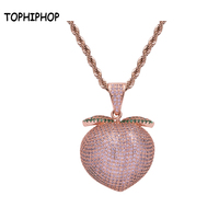 Bling Bling Rose Gold Fruit Peach Pendant Rope Chain Necklace Hiphop Jewelry Men's Iced Out Pink Peach Pendant for Nightclub