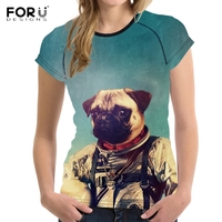 FORUDESIGNS Funny 3D Animal Astronaut Pug Dog Print Women Summer T Shirts Stylish Girls O Neck