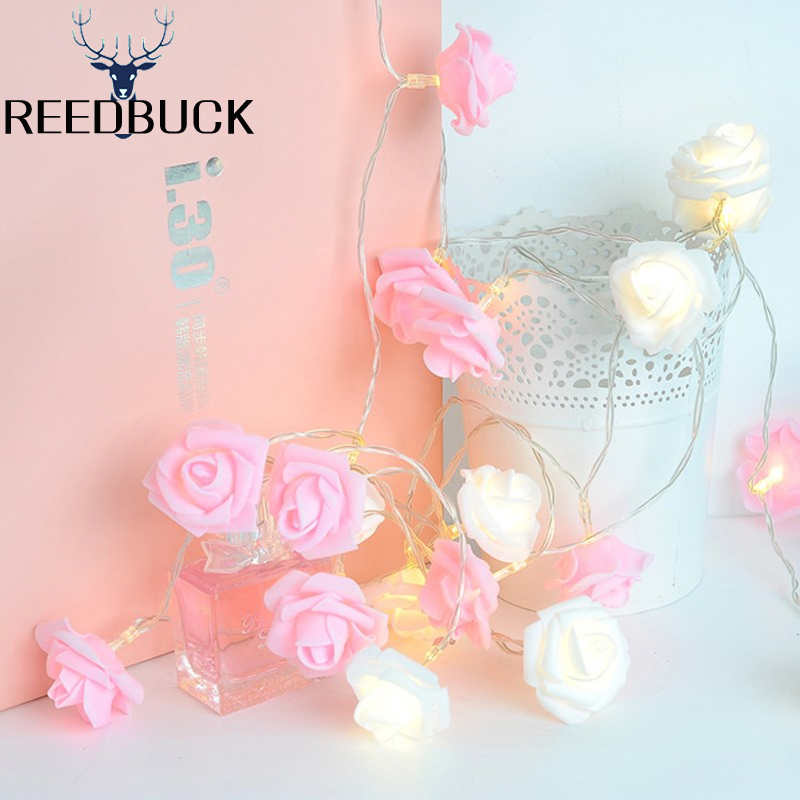 1M 2M LED Romantic Rose Flower String Light For Holiday Wedding Xmas New Year Home Dedroom Table Decor AA Battery Fairy Garland