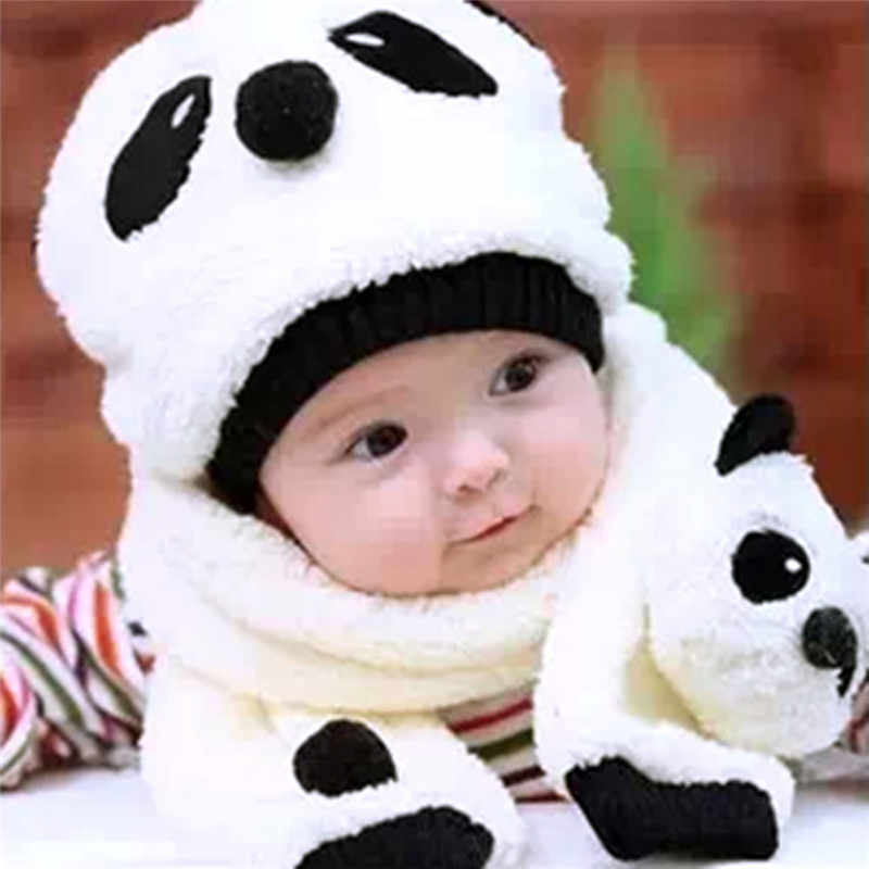 8c75c1166f1 Cute Cartoon Panda Baby Boy Girl Hats Winter Children Wool Cap Kids Baby Hat  and Scarf