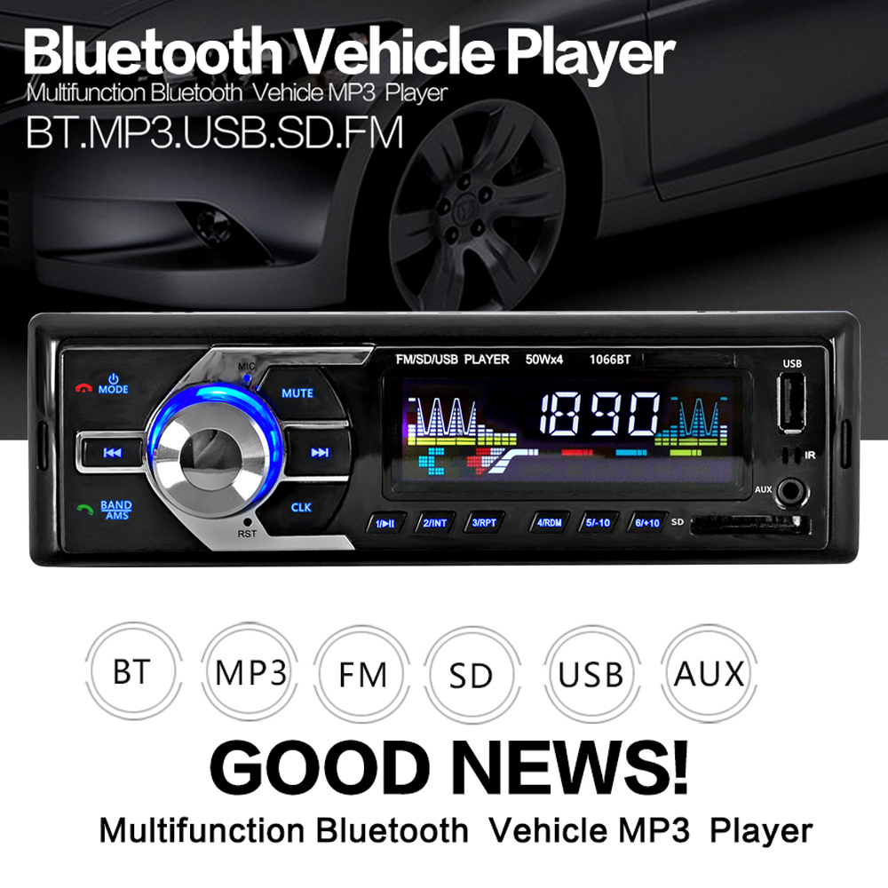 Car Radio Stereo Player Bluetooth Phone AUX-IN MP3 FM/USB/1 Din/remote control 12V Car Audio Auto 2017 Sale New все цены