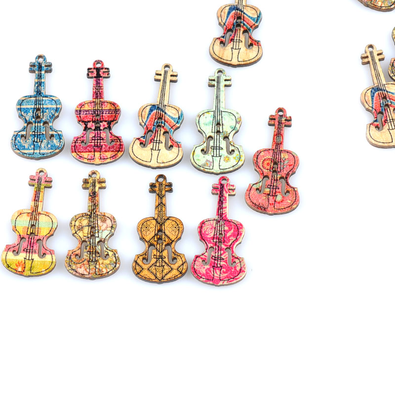 Home & Garden Arts,crafts & Sewing Radient Violin Design Pattern Mixed Color Wooden Buttons Handwork Craft Supplies Diy Apparel Sewing Button Children Scrapbooking M1669