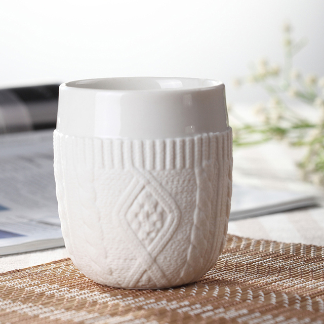Creative Wool Double Cup Ceramic Coffee Mug 160ml
