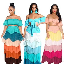 Sexy Women Strapless Crop Top High Waist Long Skirt Two Piece Sets Patchwork Colorful Stripe 2