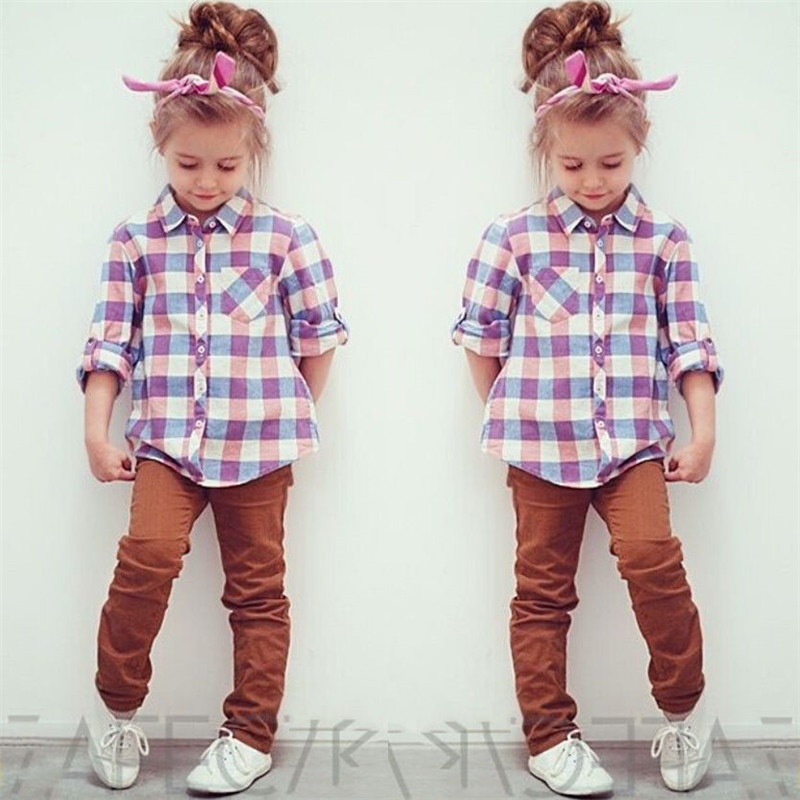 1121ecd0c5d itkidboy Toddler Baby Little Boys Girls Long Sleeve Button Plaid Flannel  Shirt for 1T-6T Clothing