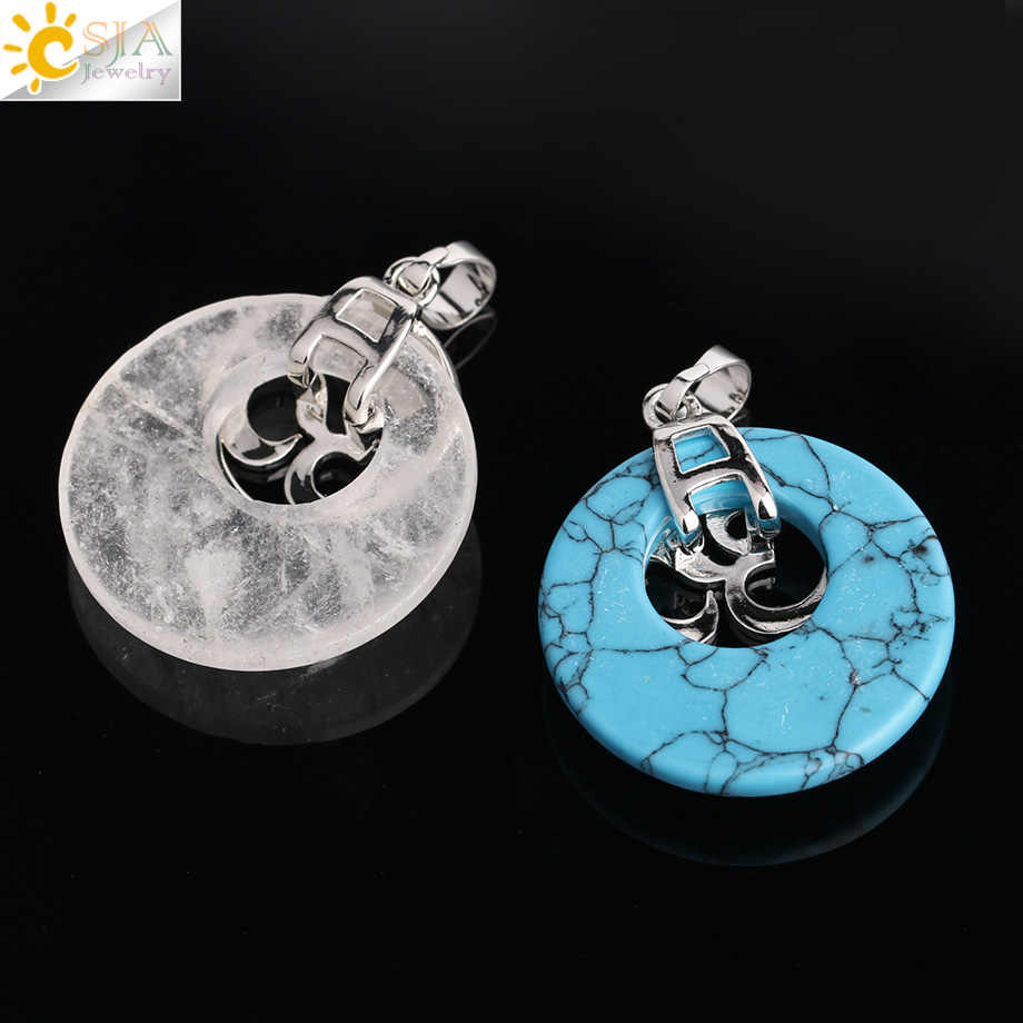 CSJA Reiki หินธรรมชาติควอตซ์ Tiger Eye สีม่วงคริสตัลนิลจี้โยคะ Silver สี 3D AUM สร้อยคอผู้หญิงเครื่องประดับ g049
