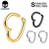 Casvort 2 pièces nouveauté oreille poids 316 L en acier inoxydable coeur oreille jauges piercing tunnels corps bijoux lot paire vente