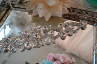 Hoge Kwaliteit 28*5.5 cm Zilver Base Clear Crystal Naaien Op Rhinestone Applique versiering Voor DIY Wedding Avondjurk
