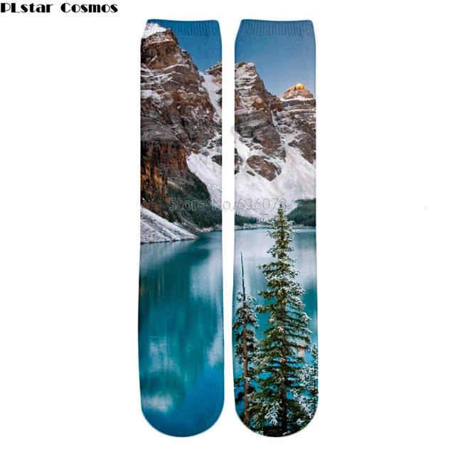 Us 6 34 27 Off Plstar Cosmos 2018 New Style Fashion Knee High Socks Winter Moraine Lake Alberta Canada Print 3d Men S Women S Casual Sock In Men S