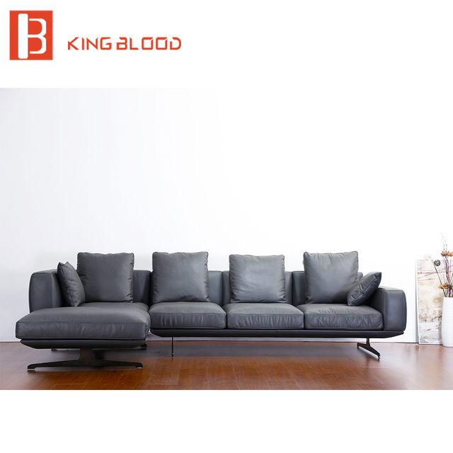 Por Modern Black Na Genuine Leather Sofa Set For Living Room
