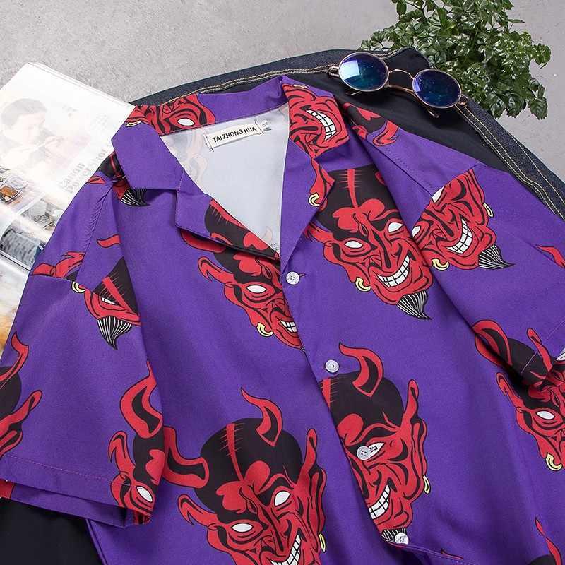 Camisas masculinas 2020 verão diabo impressão completa de manga curta camisa casual hip hop harajuku solto havaiano streetwear camisas
