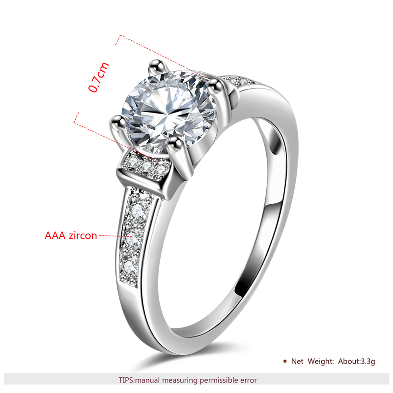 MJARTORIA Fashion Crystal Silver Color Cubic Zircon Wedding Ring Classic Female Rings Engagement Bijoux Ring For Women Jewelry