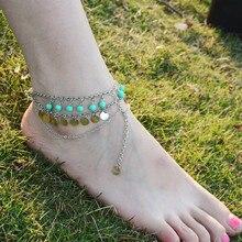 1PC Hot Summer Green Round Bead Tassel Chain Bohemian Anklets for Women Elegant Romantic Beach  Ankle Bracelet Wholesale  BW634