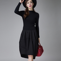 NEW Female Winter Dresses Korean Designer Casual High Street Fashionable OL Long Sleeve Sexy Wool knitted Sweater Dresses