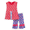 New Arrival Girls Spring Summer Clothing Red Polka Dot Sleeveless Top Blue Stars Pants Boutique Children Ruffle Outfits S012