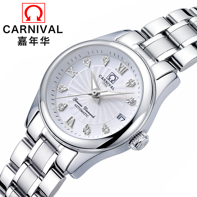 CARNIVAL Fashion Automatic Watch Women Calendar Top brand Women watches Luminous Waterproof Sapphire Full Steel Relogio