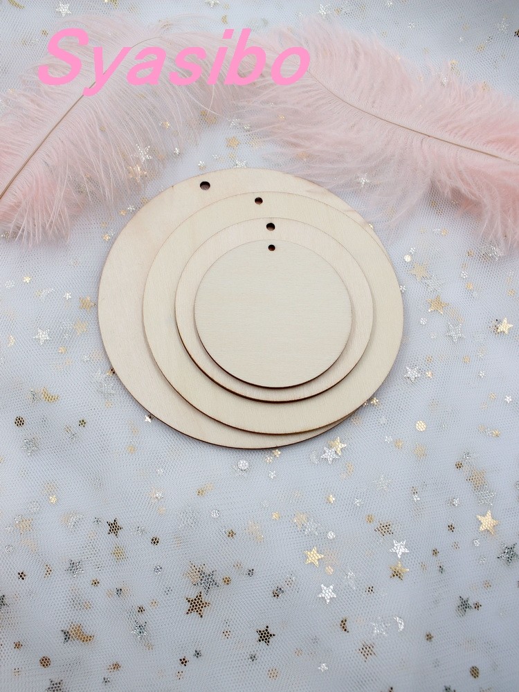 50mm/60mm/76mm/101/mm/120mm Blank Wood Circle Necklace Round Wooden Disks With Hole Favor Tags-CT1202