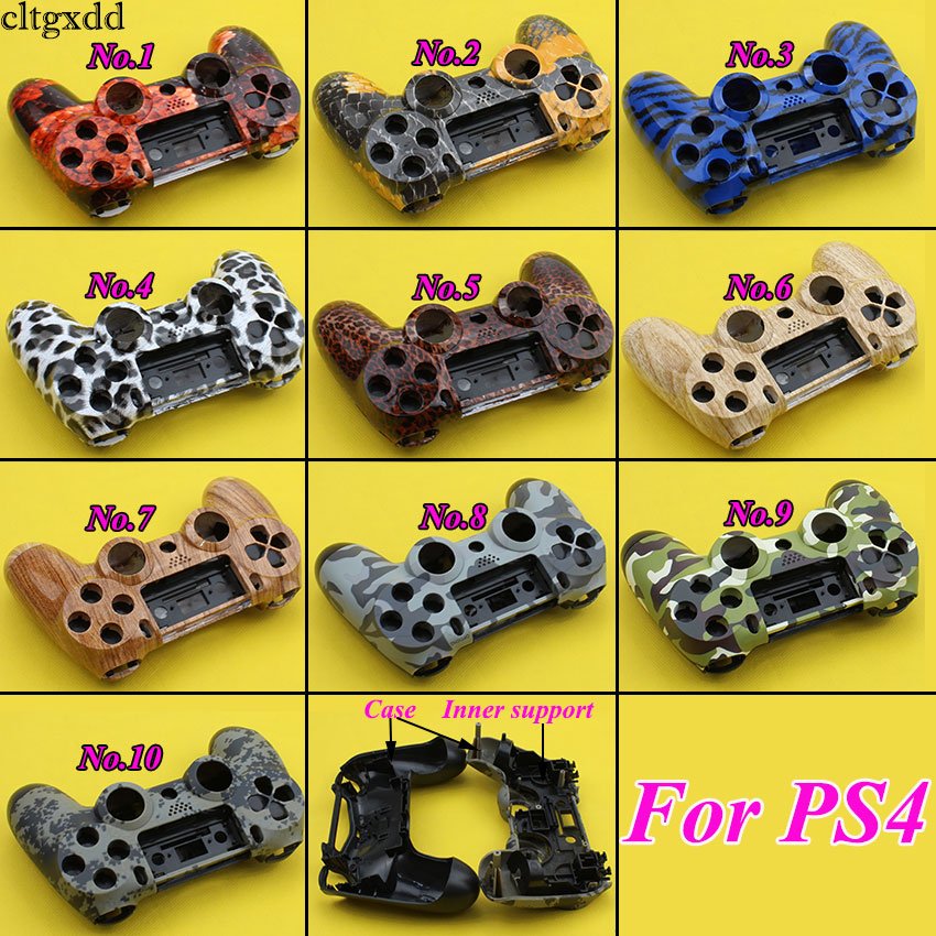 лучшая цена cltgxdd Front+Back Hard Plastic Upper Housing Shell Case With Inner Support for PS4 Wireless Controller Cover