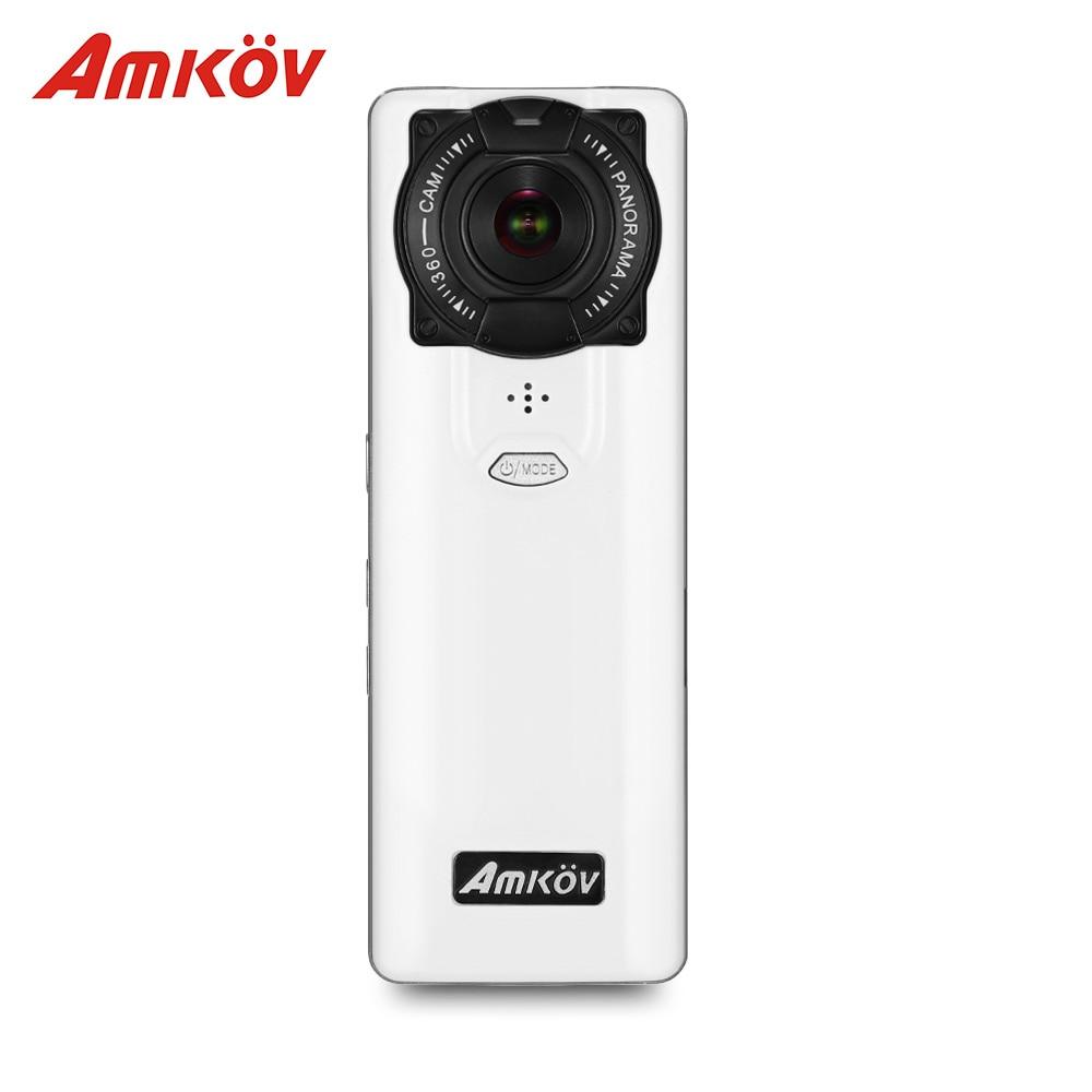 Amkov VR-P360 V360 De Poche 4 k WIFI 360 Caméras Double 220 HD Grand Angle FishEye Panoramique Caméras App Contrôle soutien VR