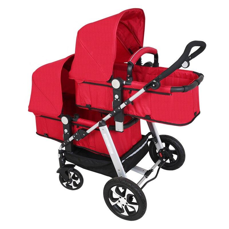 Babyfond коляска для малышей-близнецов может для сидения и лежания в Высокая Пейзаж свет и ударопрочность Складная двойная коляска
