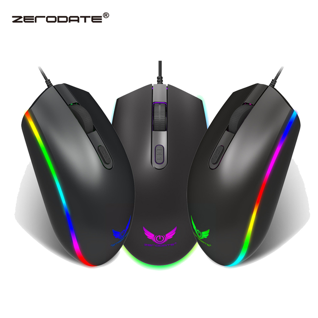 ZERODATE New RGB Wired Mouse 1600DPI Office Gaming Mouse Support PC Laptop Computer Accessories
