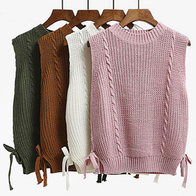 Autumn Knit Sweater Vest Women Sleeveless O Neck Cable Twist Knitted