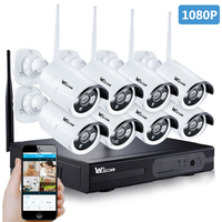 8CH HD 1080P Wifi NVR Kit 2MP Outdoor P2P Surveillance Wi Fi Kits CCTV System Wireless