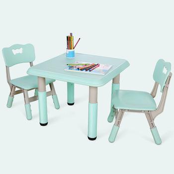 Zestawy mebli dla dzieci 1 stół + 2 krzesła zestawy plastikowe mebelki dziecięce zestawy mebli dla dzieci krzesło i stół do nauki zestawy podnoszenia biurko 60*60*60cm tanie i dobre opinie Ecoz China Z tworzywa sztucznego Minimalistyczny nowoczesny