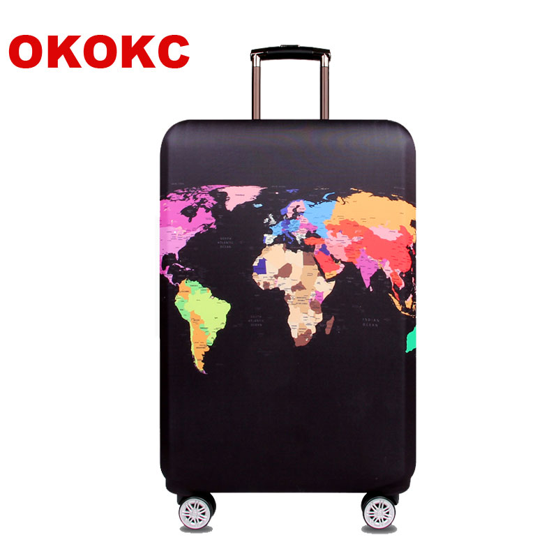 OKOKC World Map Elastisk Tykt Bagage Cover til Trunk Case Ansøg om 18 '' - 32 '' Kuffert, Kuffert Beskyttende Cover Travel Accessor