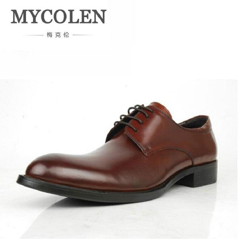 MYCOLEN Leather Casual Men Shoes Business Men Derby Elevator Shoes Men Round Toe Comfortable Office Dress Shoes Brown Schoenen 2015 new deluxe brand 100% high quality flat summer women knee high gladiator sandals genuine leather cut outs cover heel shoes
