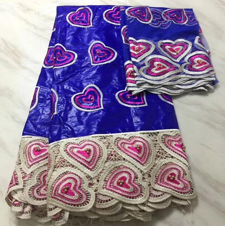 5 Yards offre spéciale bleu royal africain Bazin brocart dentelle tissu et motif de coeur français net dentelle broderie pour robe BZ7-4
