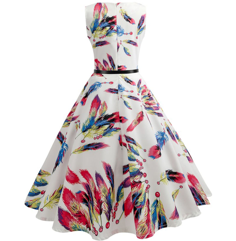 Women Summer Dress Floral Print Retro Vintage 1950s 60s Casual Party Office Robe Rockabilly Dresses Plus Size Vestido Mujer