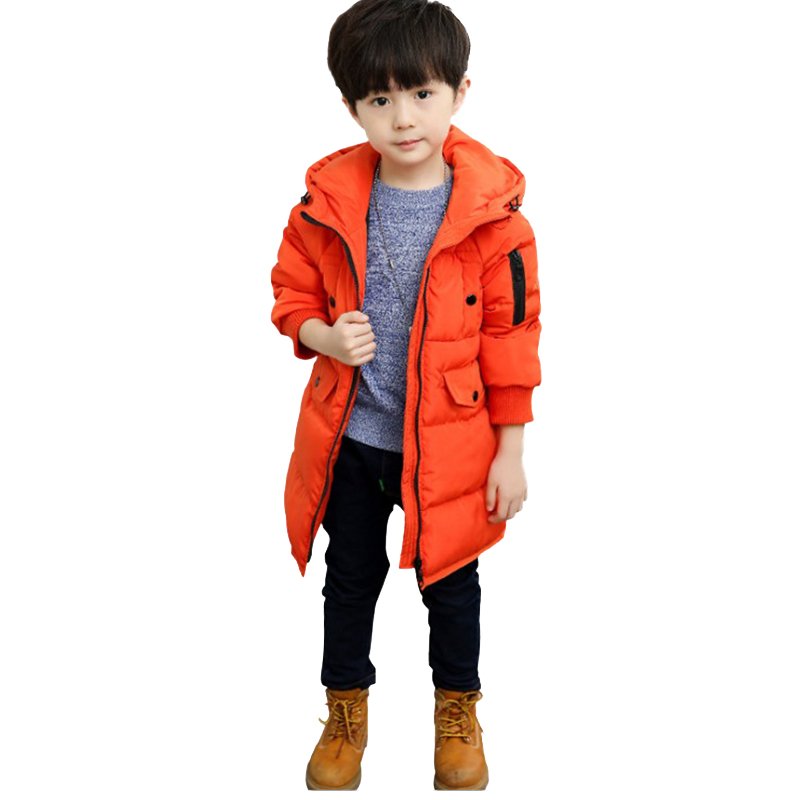 2017 New Boys Winter Thick Warm Coat Kids Hooded Casual Jacket Kid Snow Outerwear Down Cotton-Padded Solid Color Winter Coats 2017 new baby girls boys winter coats jacket children down outerwear warm thick outdoor kids fur collar snow proof coat parkas