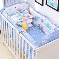 2019 New Pink Cat Baby Bed Bumpers Safety Baby Bed Cot Linen Bed Newborn Crib Bumper Sets Protector Toddler Bedding Sets 6PCS