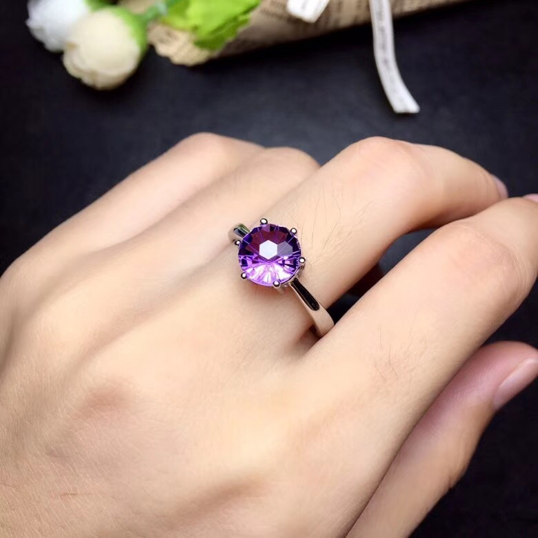 Simple and exquisite 925 Silver Amethyst Ring, special price to attract attention amethyst solitaire ring