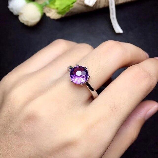 ที่เรียบง่ายและประณีต 925 Silver Amethystแหวนพิเศษราคาดึงดูดความสนใจ
