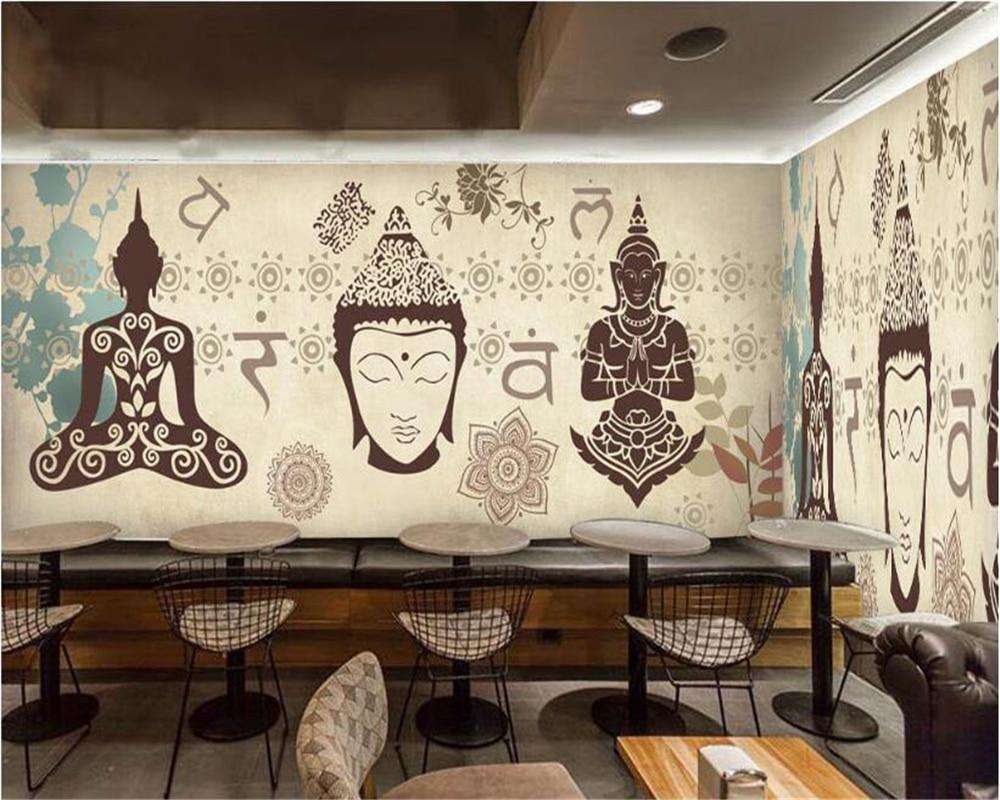 Buddha Tailandês beibehang Nostálgico papel de Parede Clássico Europeu e Americano Restaurante Bar Fundo papel de parede 3d papel de parede